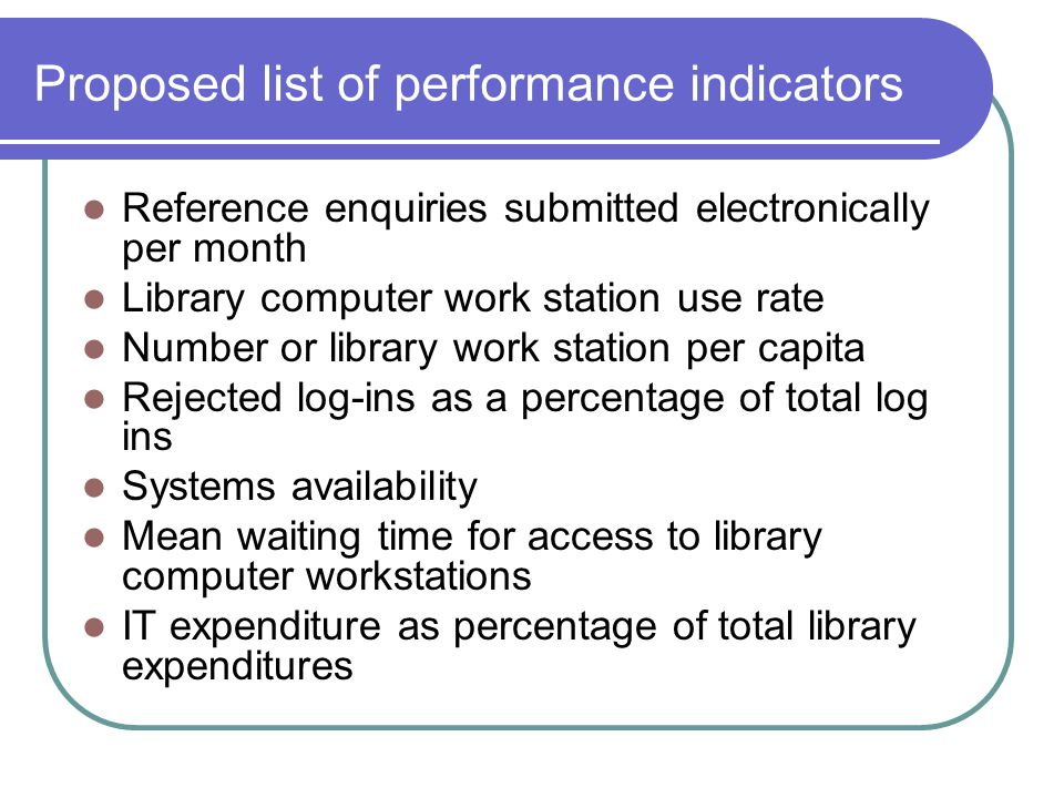 Proposed list of performance indicators