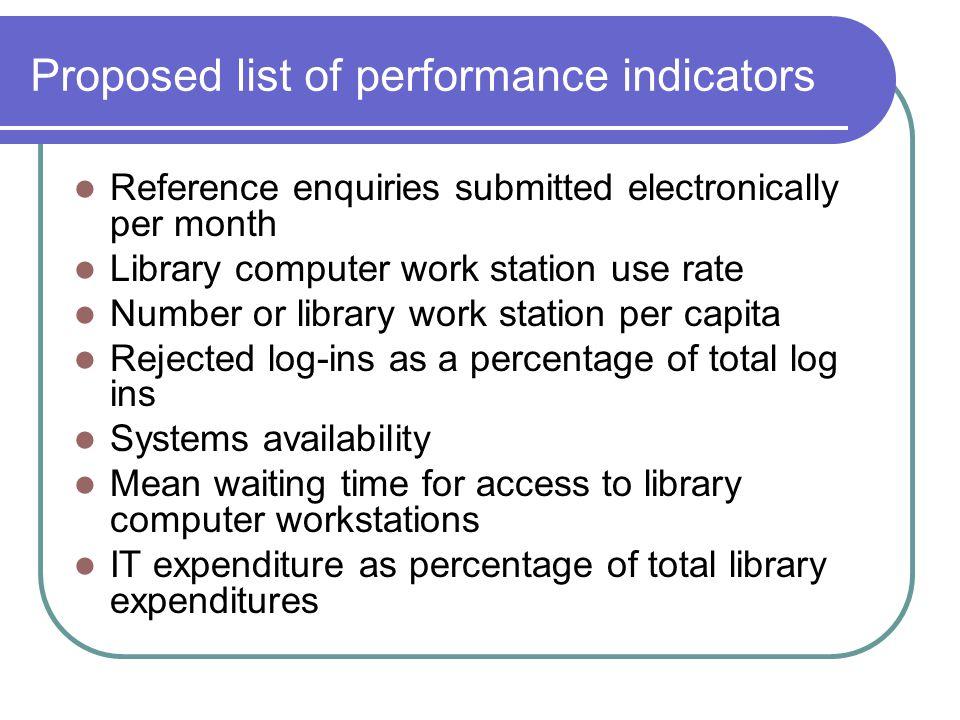 Proposed list of performance indicators