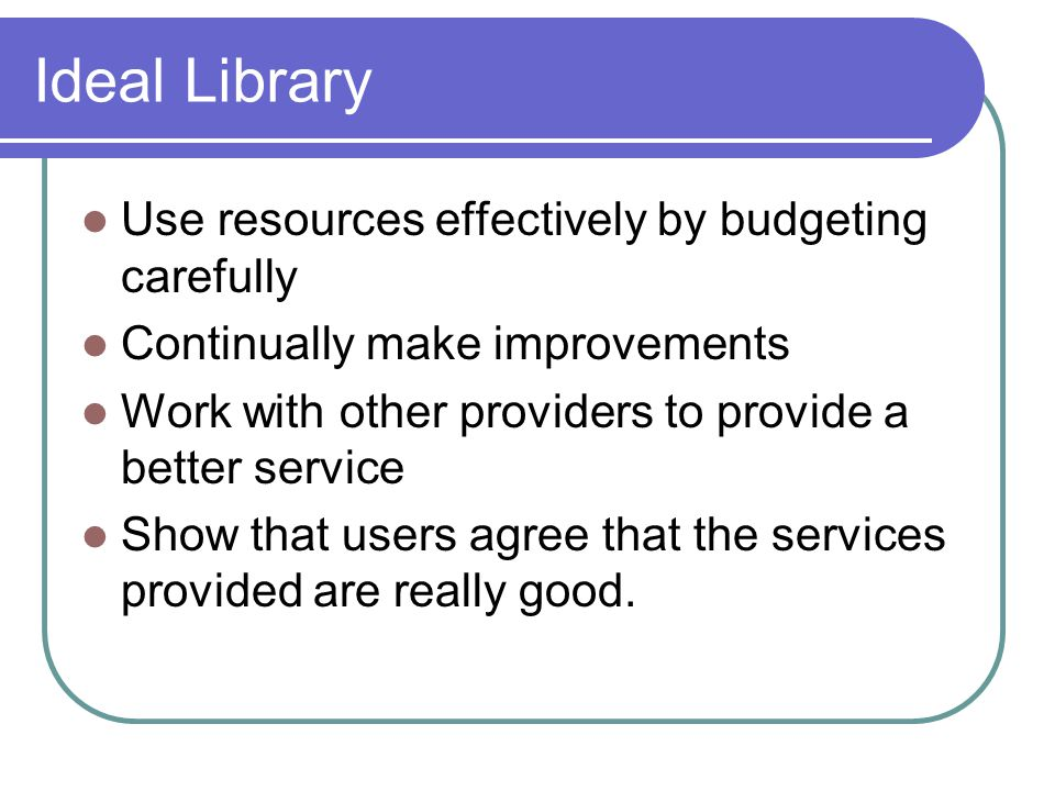 Ideal Library Use resources effectively by budgeting carefully