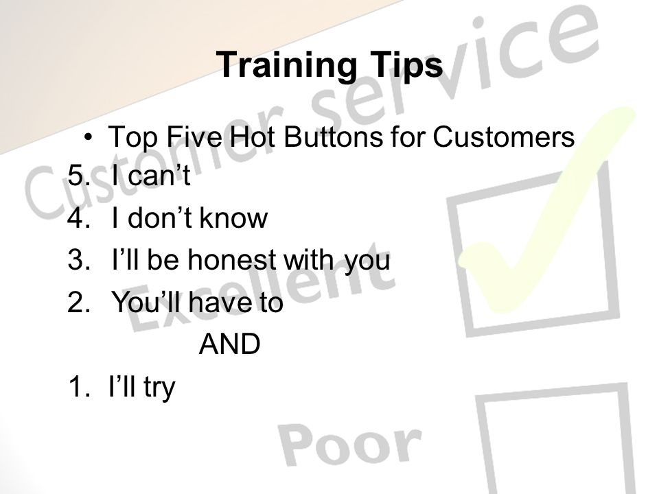 Top Five Hot Buttons for Customers