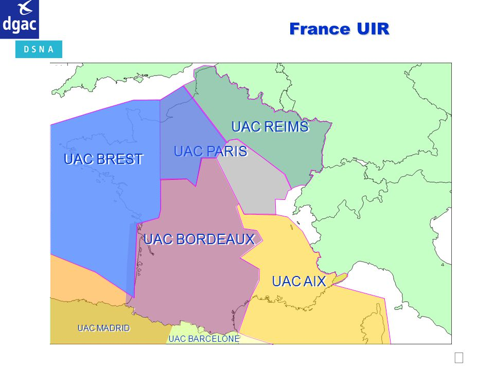 France UIR  UAC REIMS UAC PARIS UAC BREST UAC BORDEAUX UAC AIX