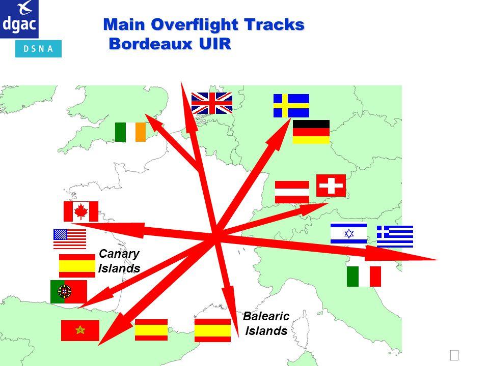 Main Overflight Tracks Bordeaux UIR