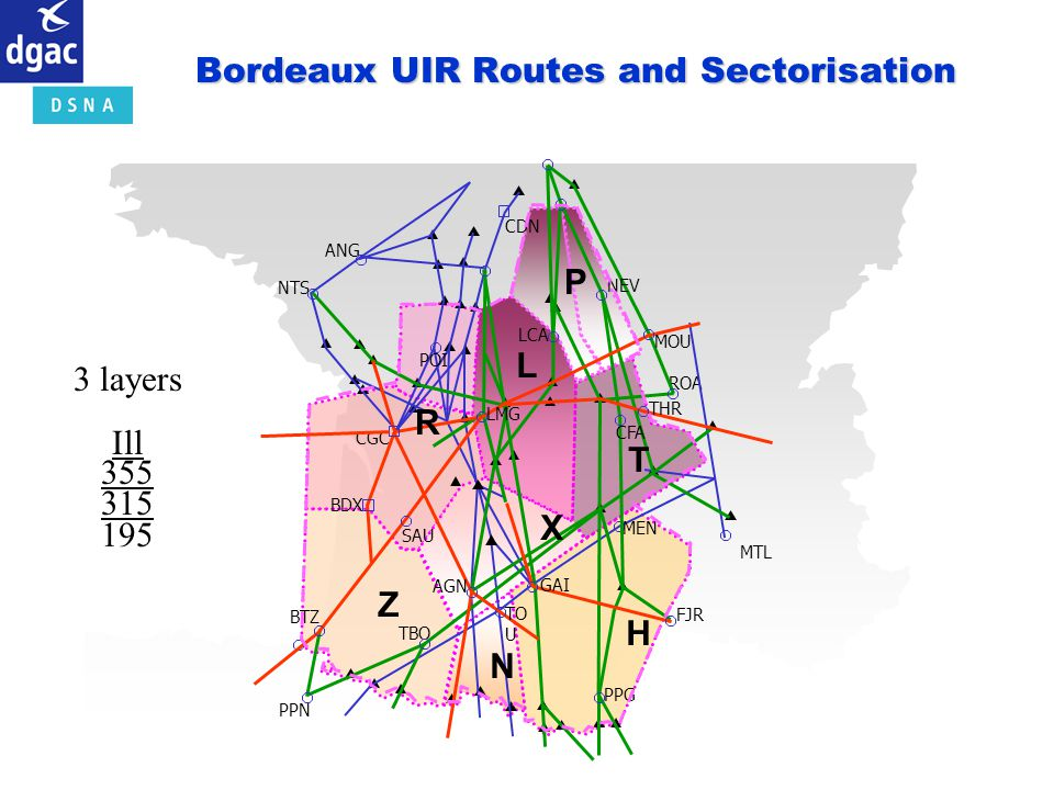 Bordeaux UIR Routes and Sectorisation
