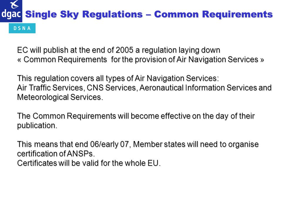 Single Sky Regulations – Common Requirements