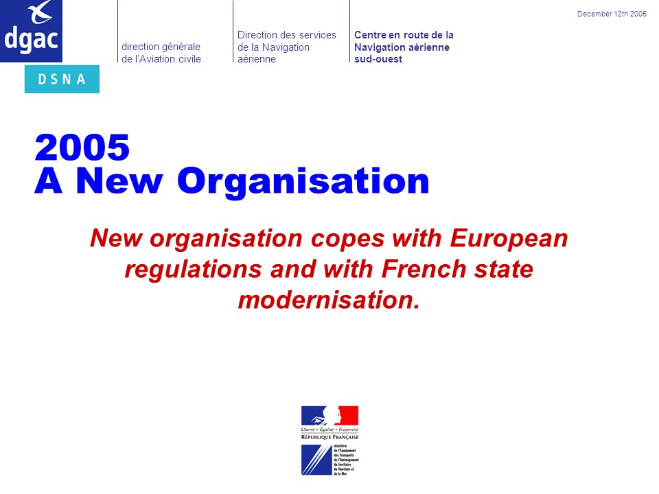 December 12th 2005 2005. A New Organisation.