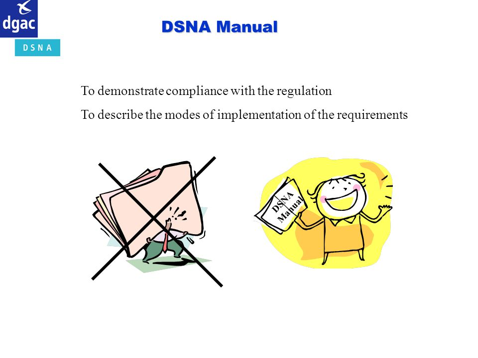 DSNA Manual To demonstrate compliance with the regulation