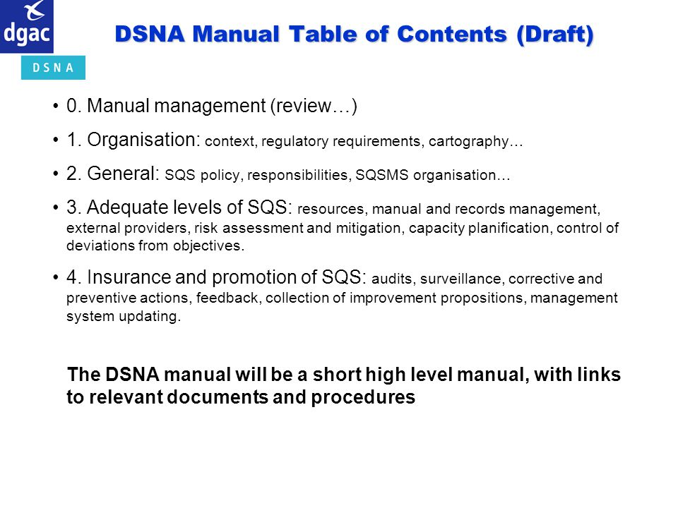 DSNA Manual Table of Contents (Draft)