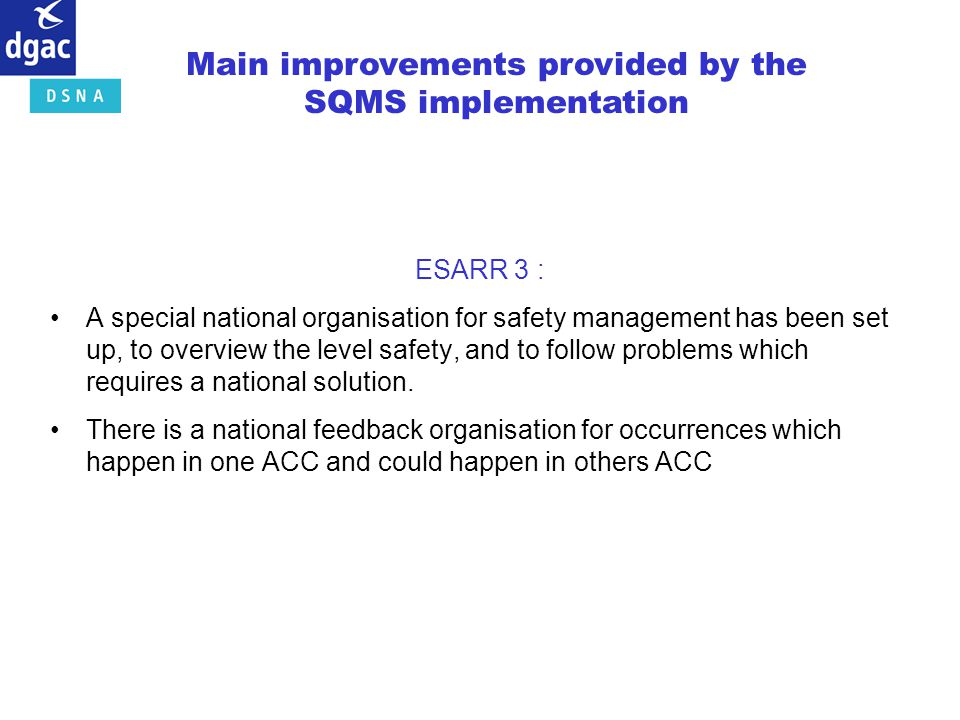 Main improvements provided by the SQMS implementation