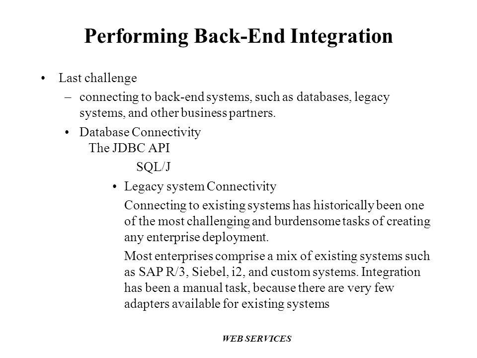 Performing Back-End Integration
