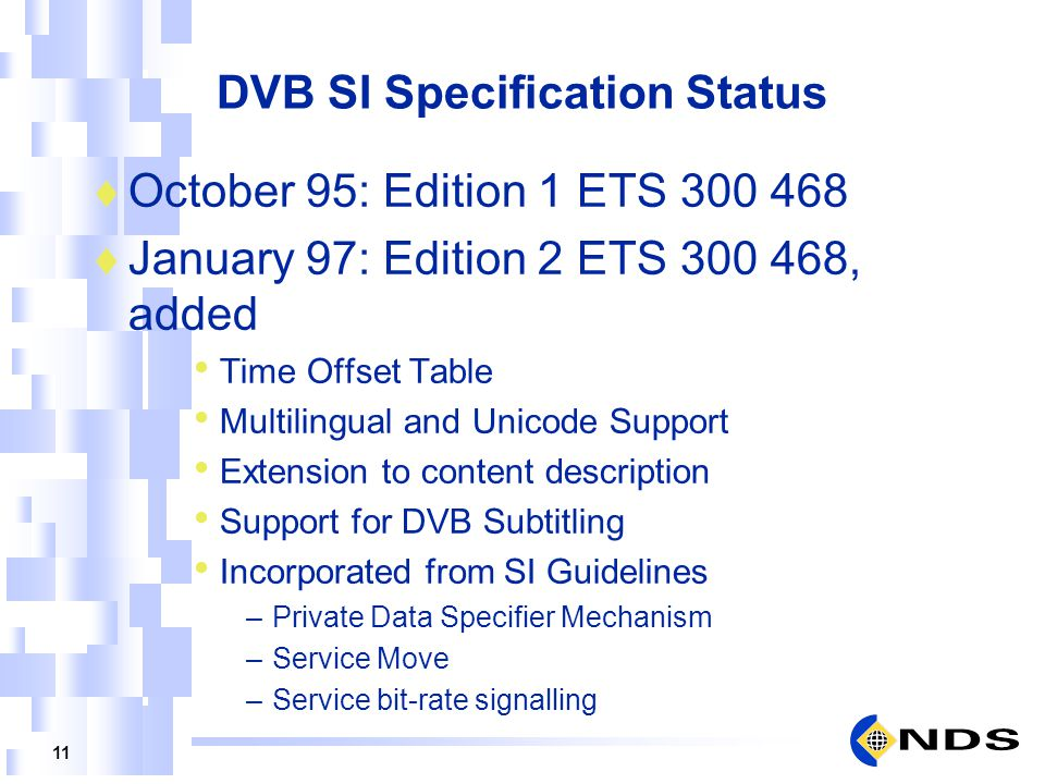 DVB SI Specification Status