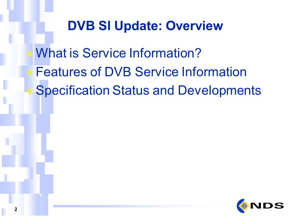 DVB SI Update: Overview