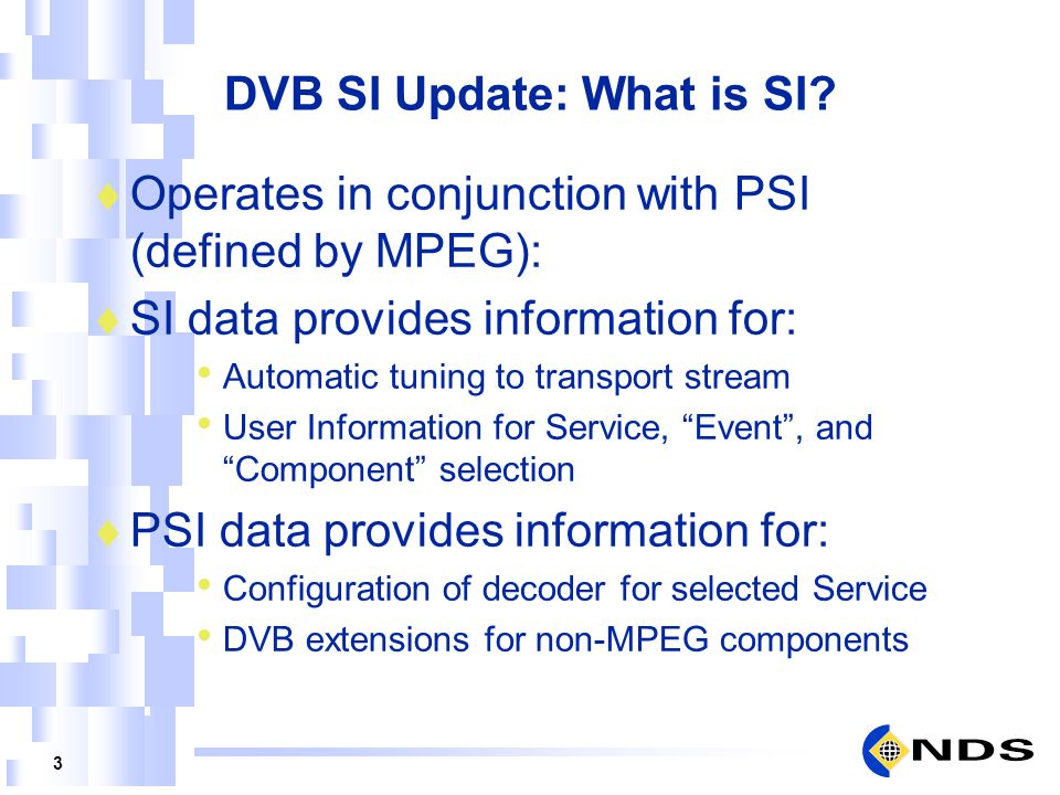 DVB SI Update: What is SI