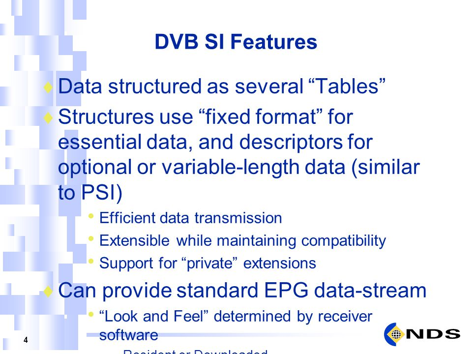 Data structured as several Tables
