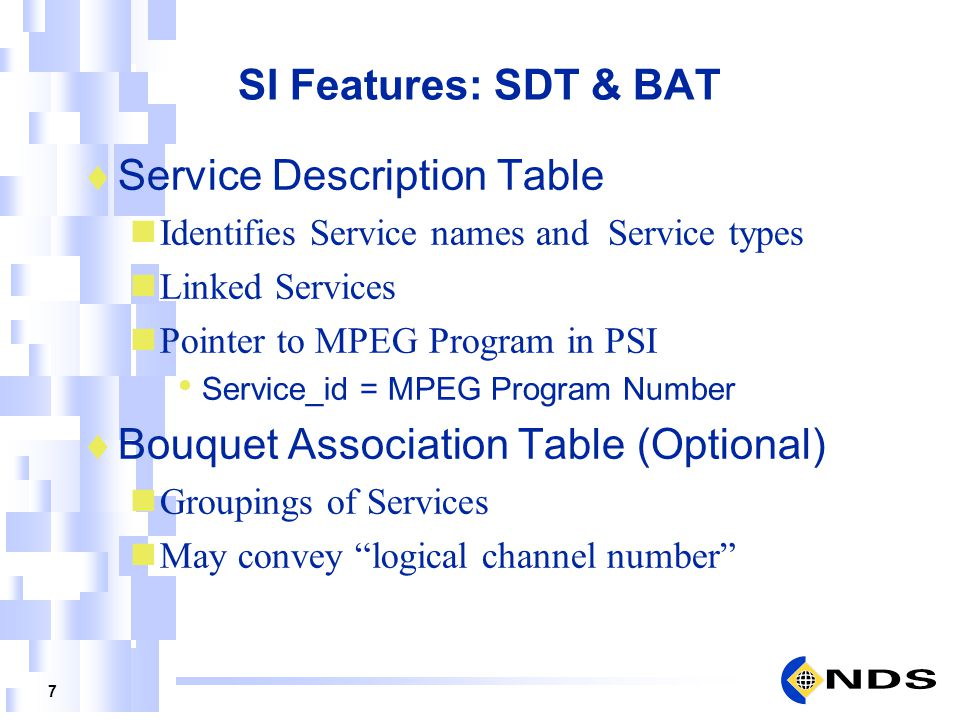 Service Description Table