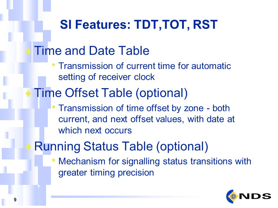 SI Features: TDT,TOT, RST