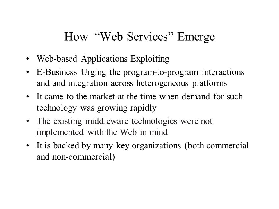 How Web Services Emerge