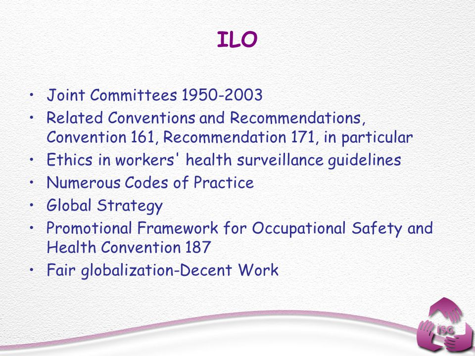 ILO Joint Committees 1950-2003. Related Conventions and Recommendations, Convention 161, Recommendation 171, in particular.
