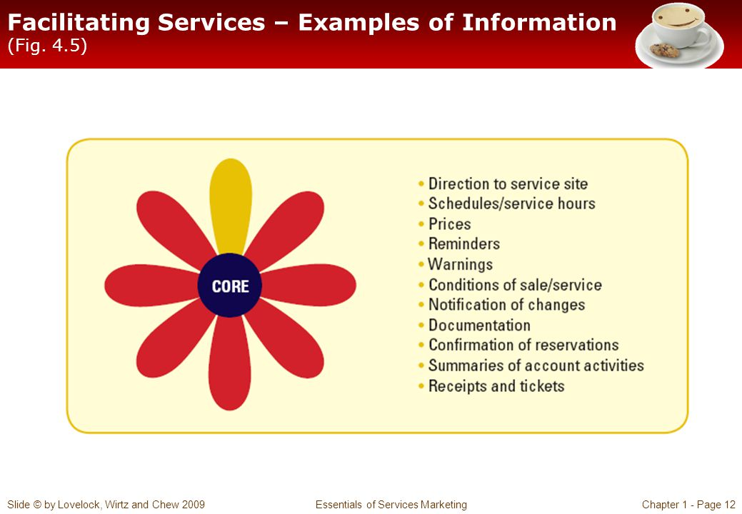 Facilitating Services – Examples of Information (Fig. 4.5)