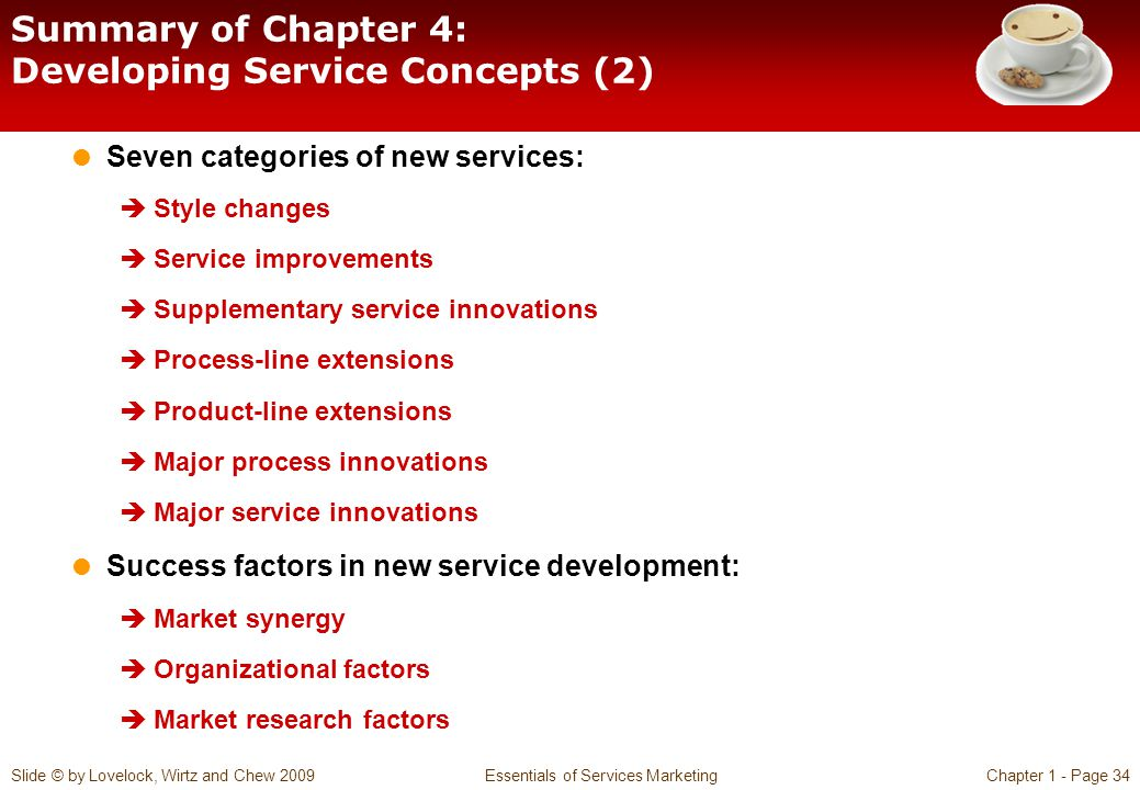Summary of Chapter 4: Developing Service Concepts (2)