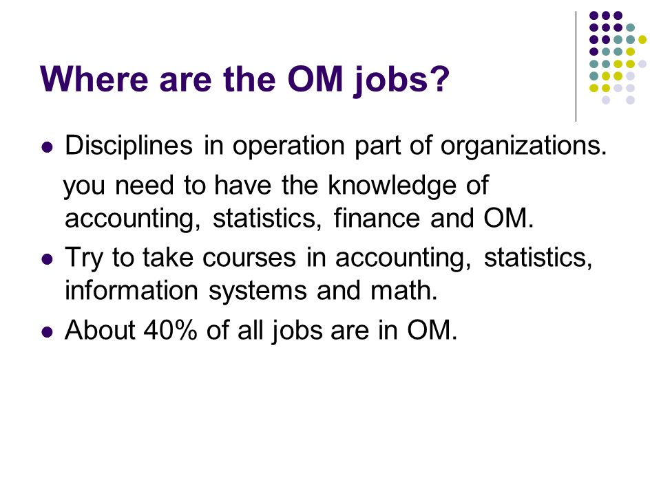Where are the OM jobs Disciplines in operation part of organizations.