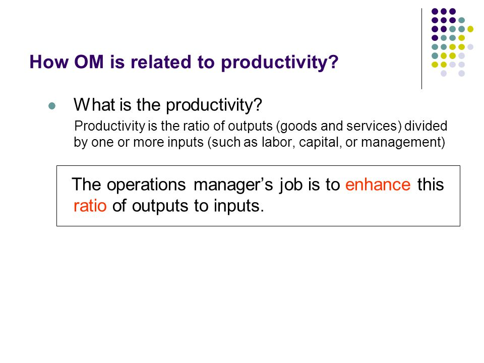 How OM is related to productivity