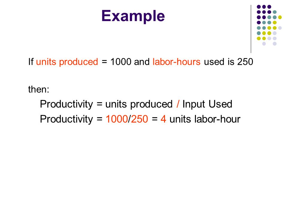 Example Productivity = units produced / Input Used