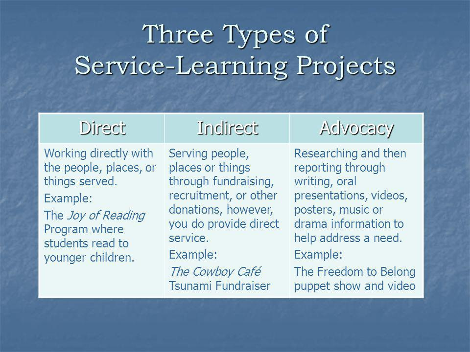 Three Types of Service-Learning Projects
