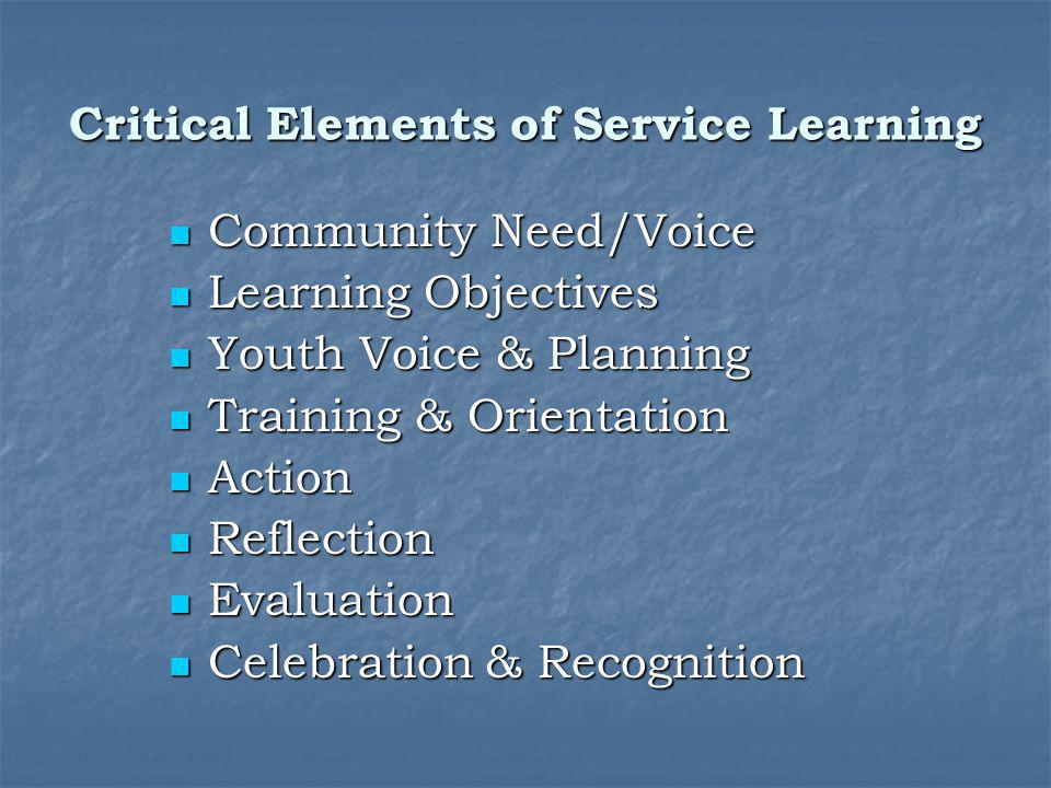 Critical Elements of Service Learning
