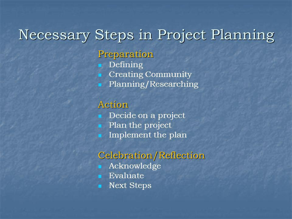 Necessary Steps in Project Planning