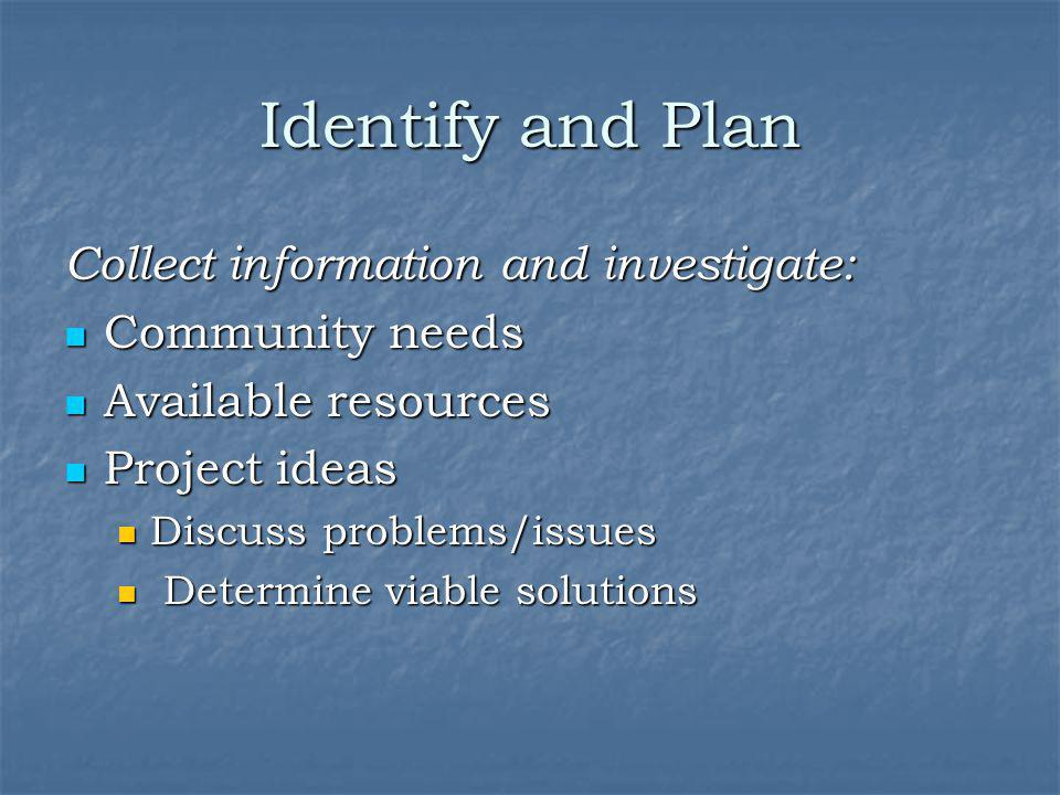 Identify and Plan Collect information and investigate: Community needs