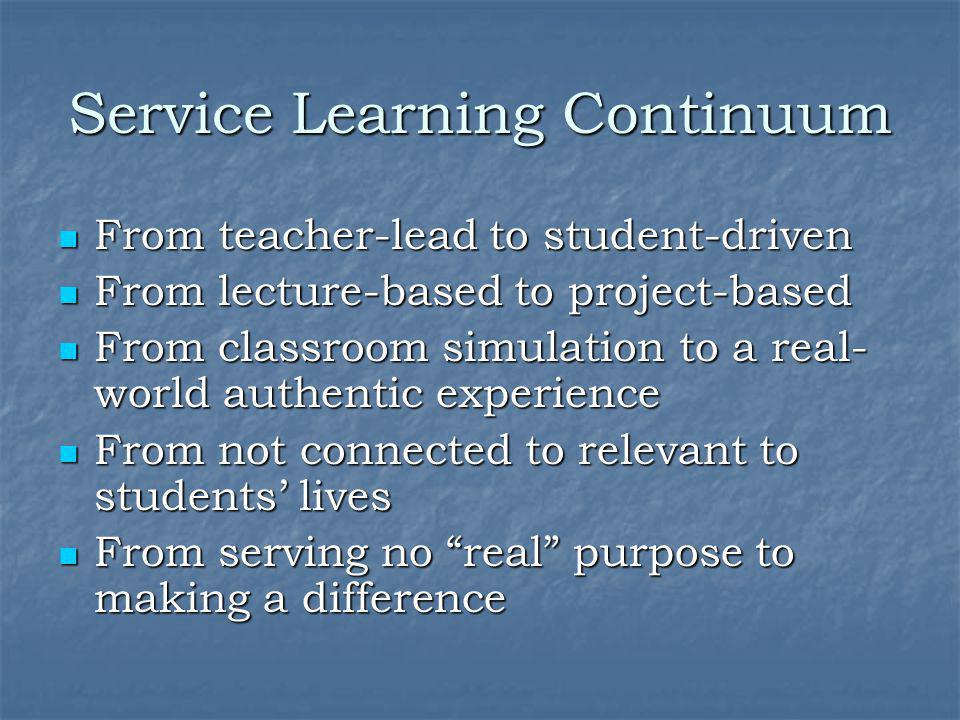 Service Learning Continuum