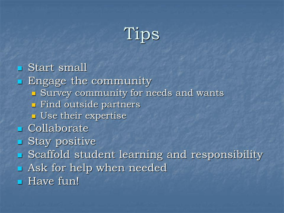 Tips Start small Engage the community Collaborate Stay positive
