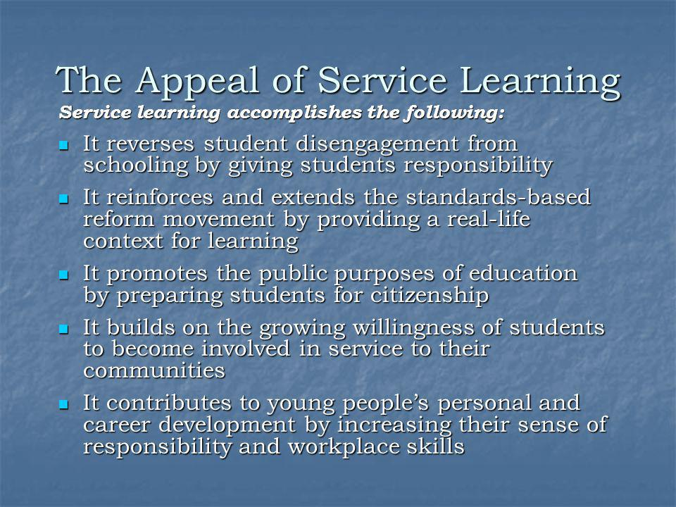The Appeal of Service Learning