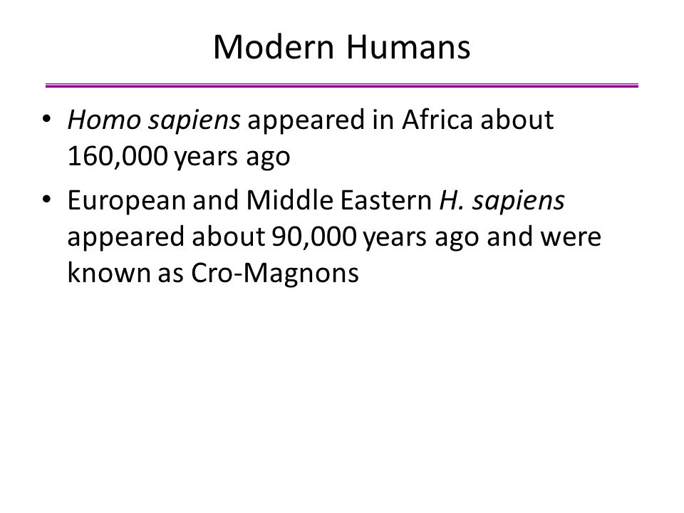 Modern Humans Homo sapiens appeared in Africa about 160,000 years ago
