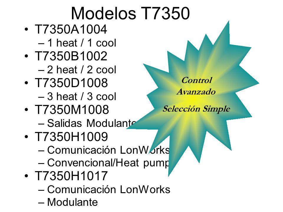 Modelos T7350 T7350A1004. 1 heat / 1 cool. T7350B1002. 2 heat / 2 cool. T7350D1008. 3 heat / 3 cool.