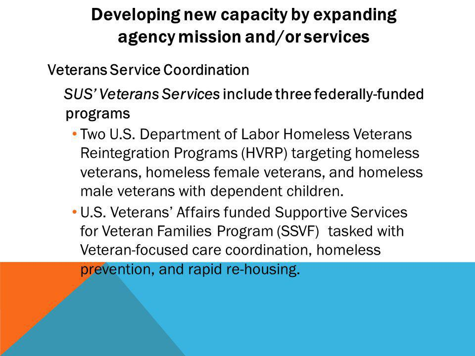 Developing new capacity by expanding agency mission and/or services