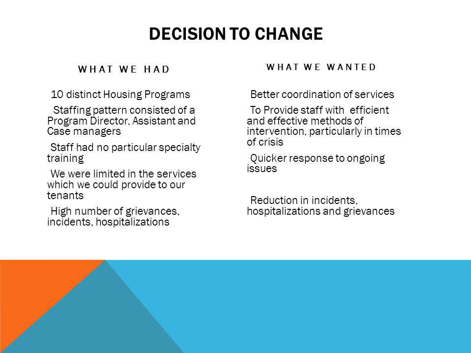 Decision to Change What We Had. What we Wanted.