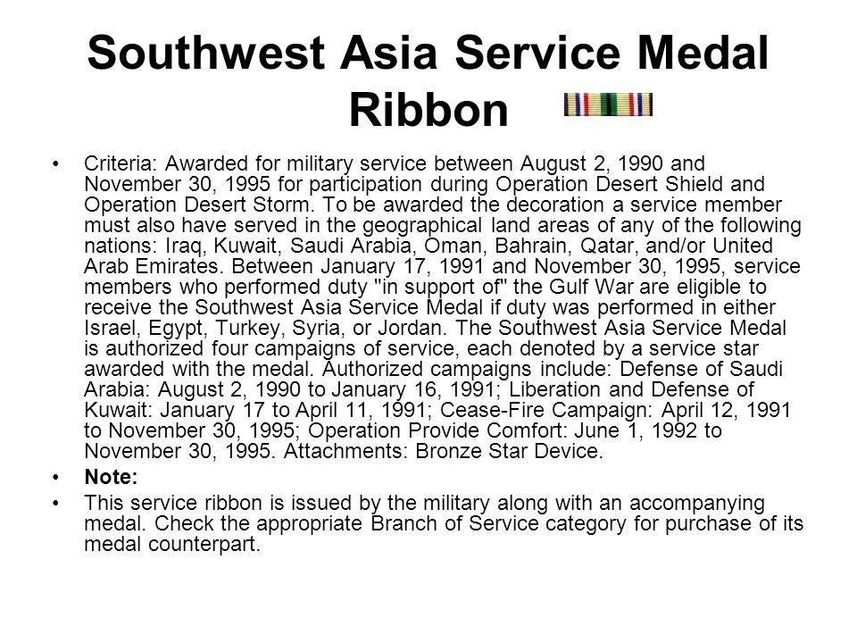 Southwest Asia Service Medal Ribbon