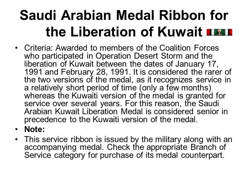 Saudi Arabian Medal Ribbon for the Liberation of Kuwait