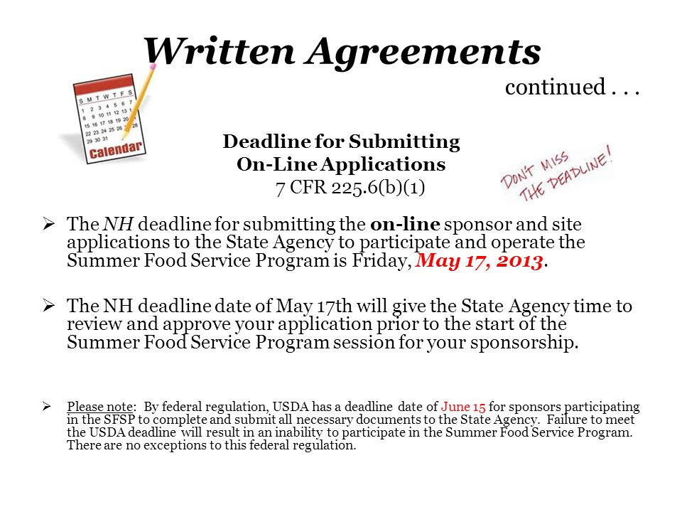 Written Agreements continued . . .