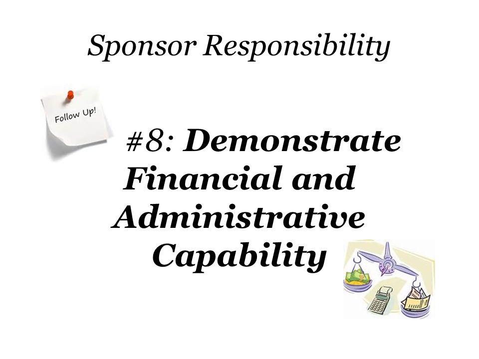 Sponsor Responsibility