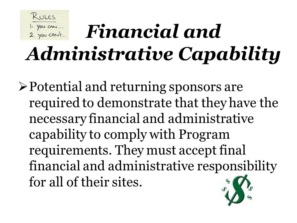 Financial and Administrative Capability