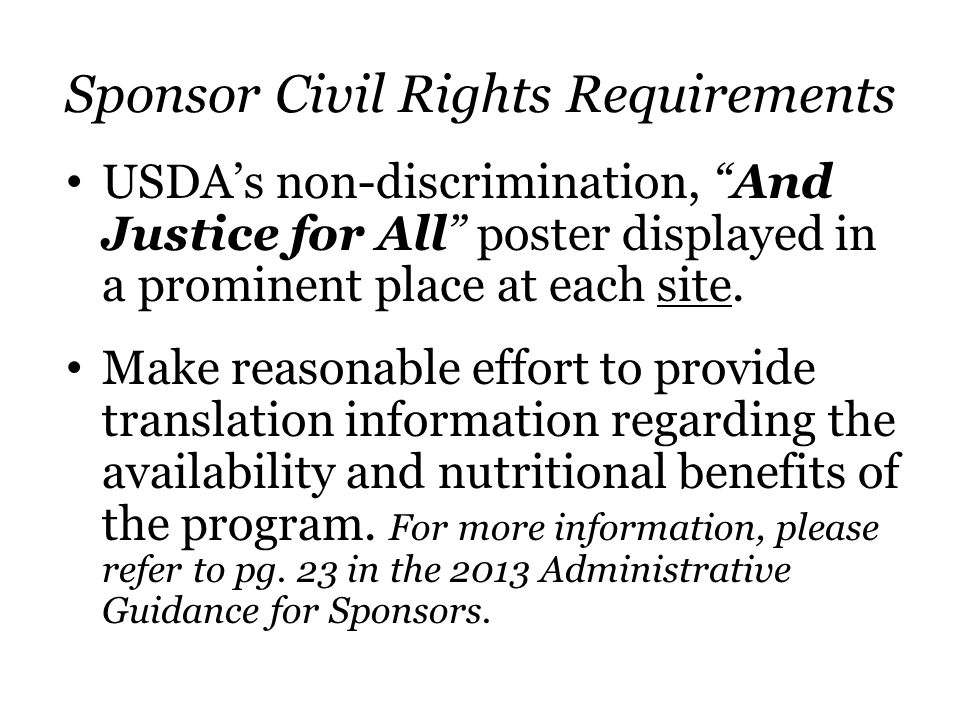Sponsor Civil Rights Requirements