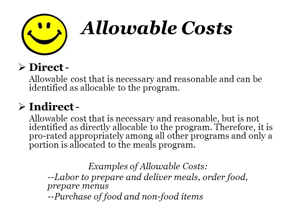 Examples of Allowable Costs: