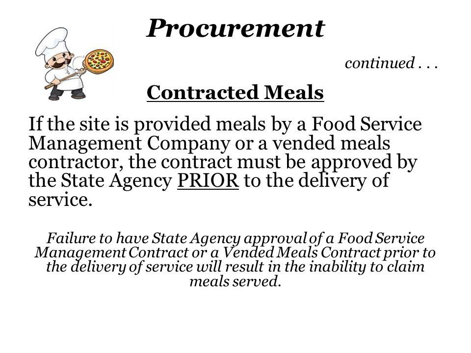 Procurement continued . . .
