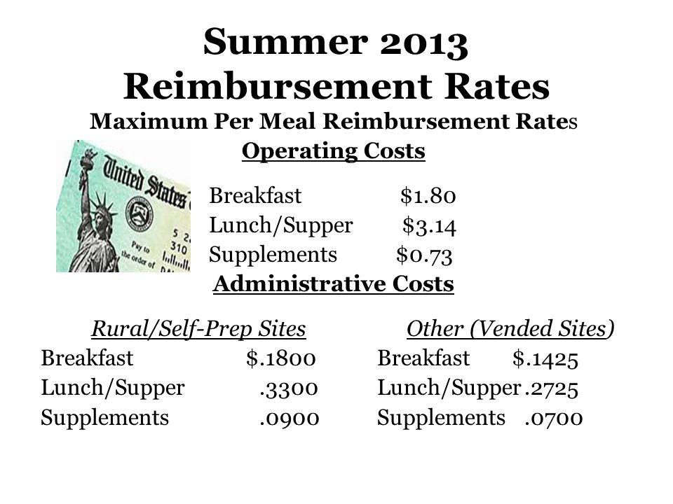 Summer 2013 Reimbursement Rates