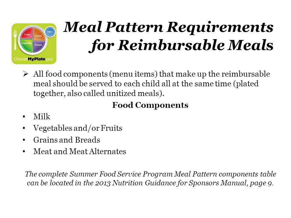 Meal Pattern Requirements for Reimbursable Meals