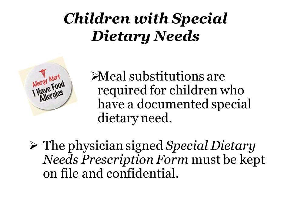 Children with Special Dietary Needs