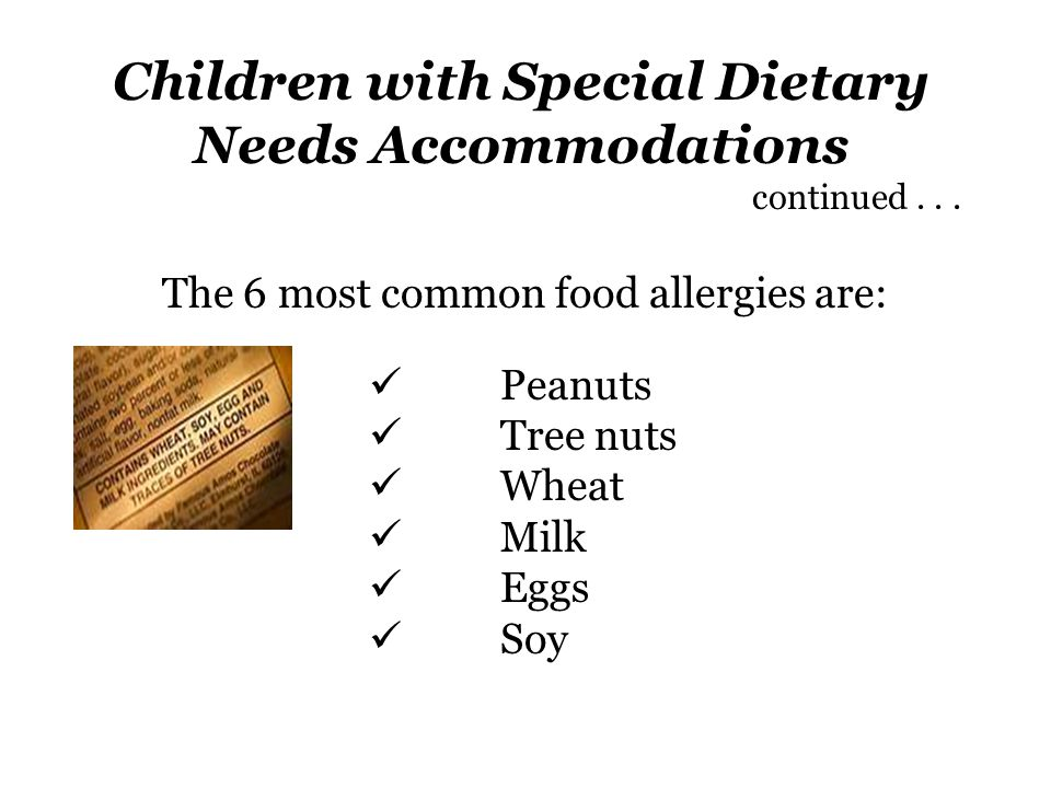 Children with Special Dietary Needs Accommodations