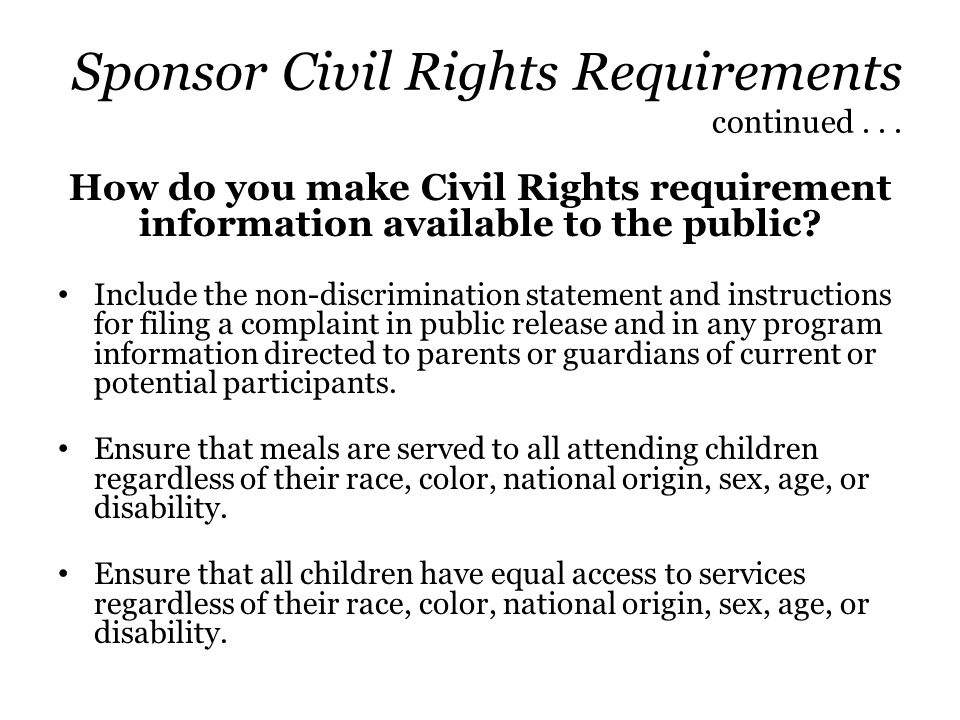 Sponsor Civil Rights Requirements continued . . .
